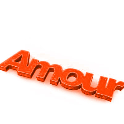 Mots « AMOUR » sur sticker orange