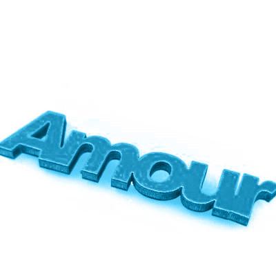 Mots « AMOUR » sur sticker turquoise