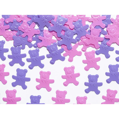 Confettis de table oursons rose / parme