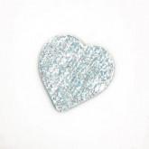 Confettis coeur en tissu (x24) métallisé bleu