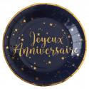 Assiettes Joyeux Anniversaire Bleu et Or (x10)