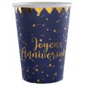 Gobelet Joyeux Anniversaire Bleu et Or (x10)
