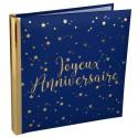Livre d'or Joyeux Anniversaire métallisé bleu et or
