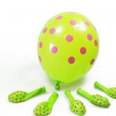 Ballons vert anis à pois fuchsia (x6)