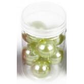 Grandes perles nacrées (x10) vert anis