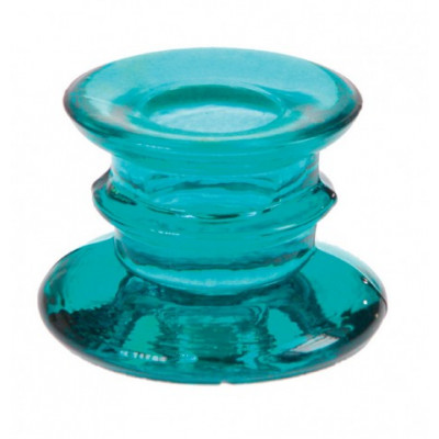 Bougeoir transparent turquoise