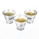 Bougie citronnelle jaune et son pot en zinc (x3)