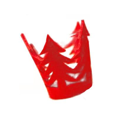 Bougeoir sapin feutrine rouge 7 cm