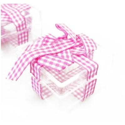Boites carrées et leur ruban vichy (x3) transparent fuchsia