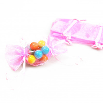 Sachets d'organdi «bonbons» x6 rose
