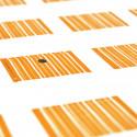 Etiquettes rayées carrées (x25) orange