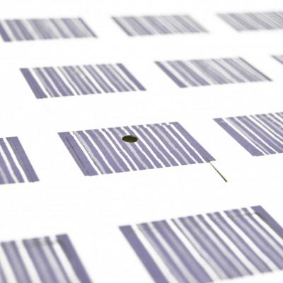 Etiquettes rayées carrées (x25) parme