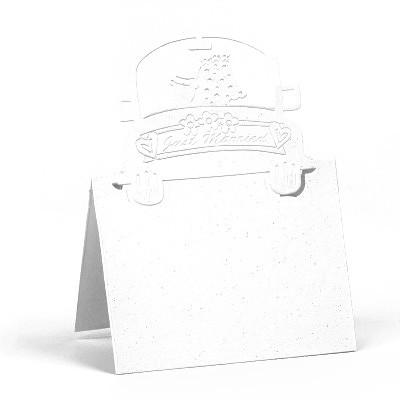 Marque-places voiture de mariés (x6) blanc