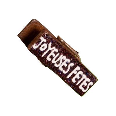 Pinces « Joyeuses fêtes » (x4) chocolat