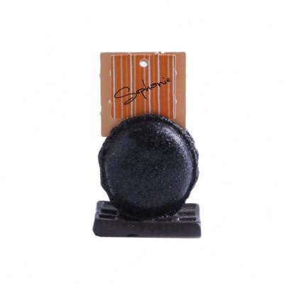 Macaron pailleté marque place noir