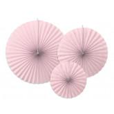 3 rosaces en papier rose