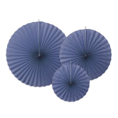 3 rosaces en papier bleu