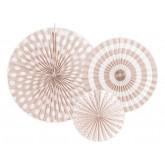 3 rosaces en papier pêche