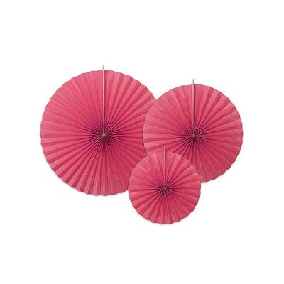 3 rosaces en papier rouge