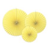 3 rosaces en papier jaune