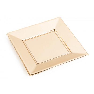 Assiettes carrées (x8) or