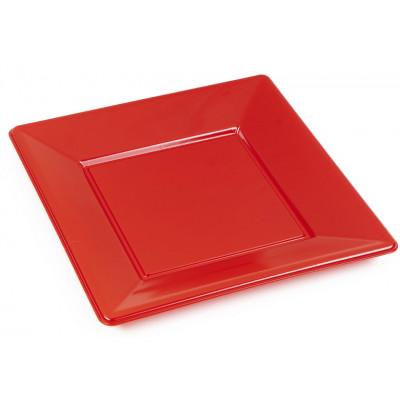 Assiettes carrées (x8) rouge