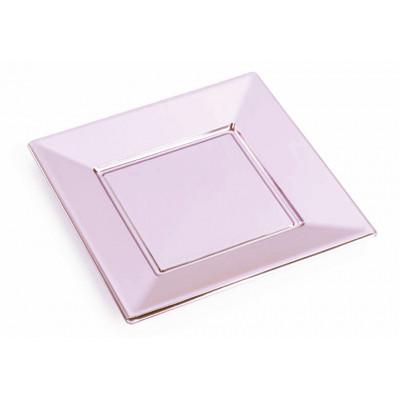 Assiettes carrées (x8) rose