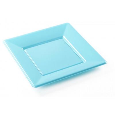 Assiettes carrées (x8) turquoise