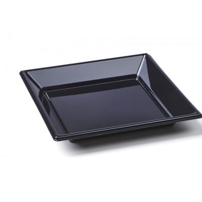 Assiettes à dessert carrées noires (x8)