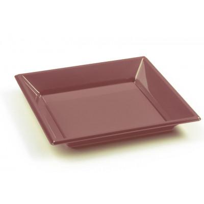 Assiettes à dessert carrées chocolat (x8)