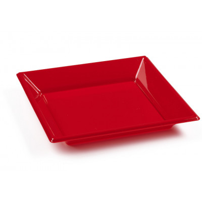 Assiettes à dessert carrées rouges (x8)