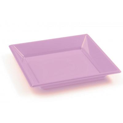 Assiettes à dessert carrées rose ( x8 )