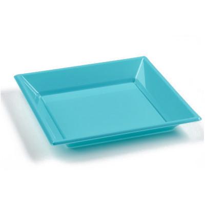 Assiettes à dessert carrées turquoise ( x8 )