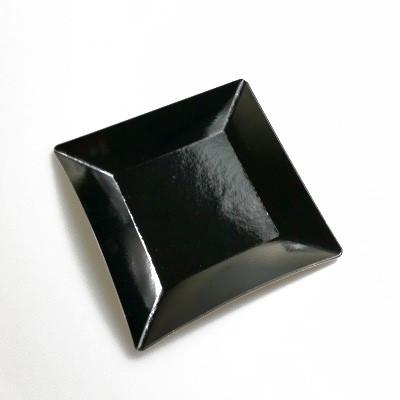 Petites assiettes carrées métallisées (x8) noir