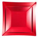 Petites assiettes carrées métallisées (x8) rouge