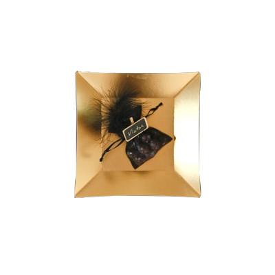 Petites assiettes carrées métallisées (x8) or