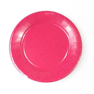 Assiettes carton de couleur (x20) fuchsia