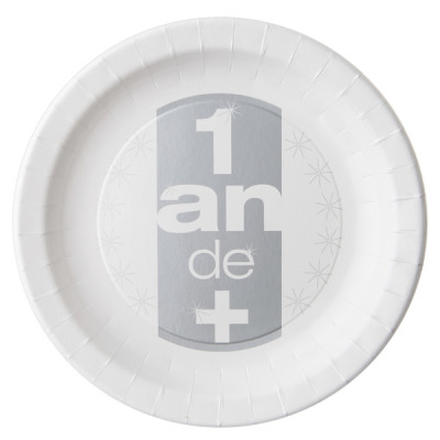 Assiettes 1 an de + (x10) argent / blanc