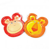 Assiettes duo safari - lion et singe (x6)