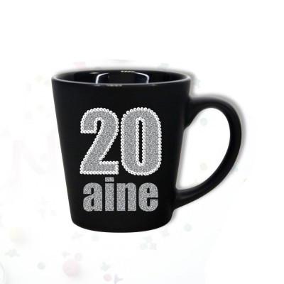 """Mug âge """"20 ans"""" noir"""