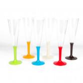 6 flutes aux pieds multicolores assorti