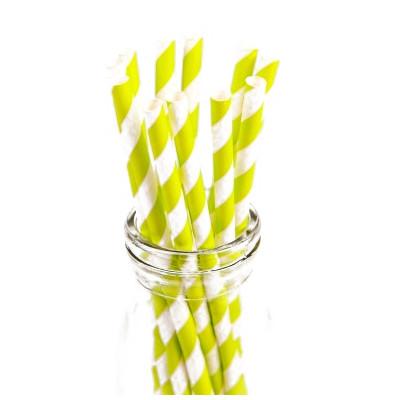 Pailles rayures vert anis (x20)