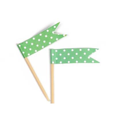 Petits fanions plumetis ( X 24) verts