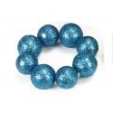 Ronds de serviettes boules festives x4 turquoise