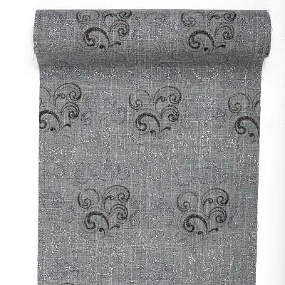 Chemin de table gris arabesques argent noir