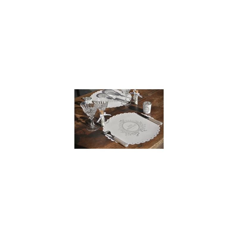 sets de table just married x6 blanc argent. Black Bedroom Furniture Sets. Home Design Ideas