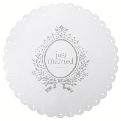 Sets de table Just Married (x6) blanc / argent