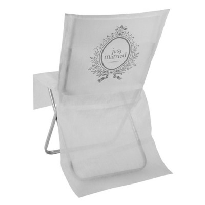 Housses de chaise Just Married blanc / argent (x10)