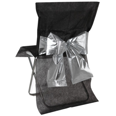 Housse de chaise (x1) avec nœud métallisé noir / argent