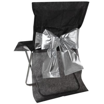 Housses de chaise (x4) avec nœud métallisé noir / argent